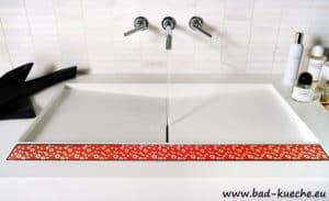 Classic Duschrinne Bodenablauf aus Edelstahl - Red Glass-4