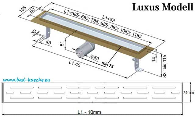 luxus duschrinne bodenablauf aus edelstahl black glas. Black Bedroom Furniture Sets. Home Design Ideas