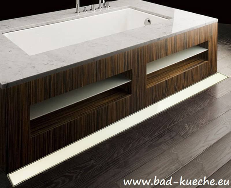 wandablauf dusche luxus duschrinne super flach aus edelstahl white glas wl07 online shop bad. Black Bedroom Furniture Sets. Home Design Ideas