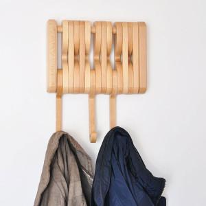 Klappbare Garderobenhaken Wandgarderobe Kleiderhaken  aus Massivholz 1